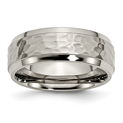 ICE CARATS Titanium 8mm Beveled Edge Hammered Wedding Ring Band Size 8.00 Fancy Fashion Jewelry For Women Gift Set ()