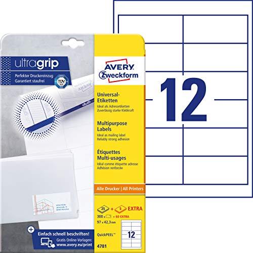 Avery Zweckform 4781 Adressaufkleber A4 Mit Ultragrip 97x423 Mm 30 Blatt Papier Matt Bedruckbare Selbstklebende Adressetiketten 360