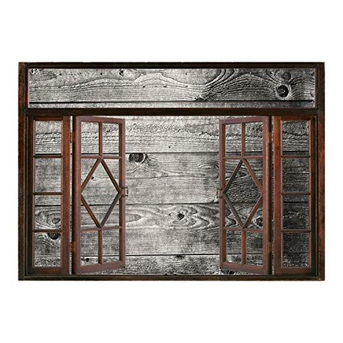 SCOCICI Removable 3D Windows Frame Wall Mural Stickers/Dark Grey,Ombre Style Grunge Wooden Planks Rustic Timber Oak Wall Rough Texture Image Decorative,Black Pale Grey/Wall Sticker Mural