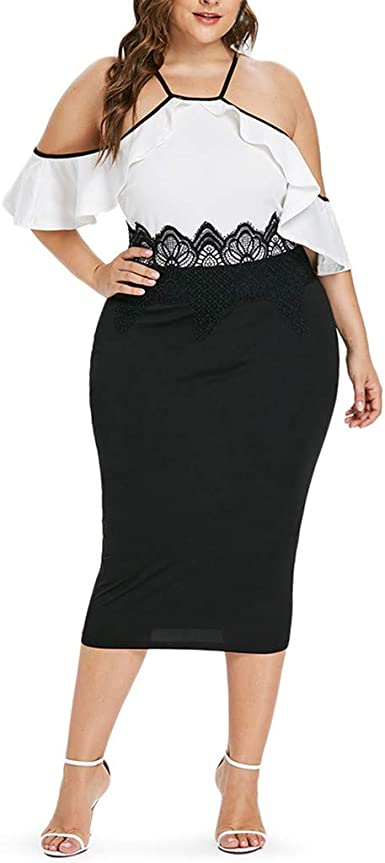 Amazon Com Ipogp Dress Summer Fat Womens Fashion Ruffle Casual Sexy Strapless Shoulder Lace Mid Calf Dress Fashion 2019 Clothing
