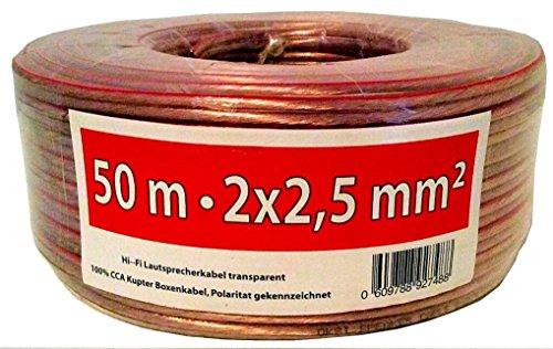 OKSi® 50m 2x2,5mm² Lautsprecherkabel High Performance Boxenkabel Audio Box Kabel 50 m Hi-Fi mit Polaritätskennzeichnung