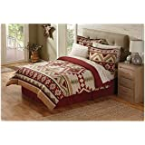 8 Piece Tan Red Southwest Comforter King Set, Southwestern Themed Bedding Featuring Indian Tribe Motifs and Native Tribal Designs, Striped Indie Pattern, Southern Bohemian Style
