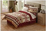 8 Piece Tan Red Southwest Comforter Full Set, Southwestern Themed Bedding Featuring Indian Tribe Motifs and Native Tribal Designs, Striped Indie Pattern, Southern Bohemian Style