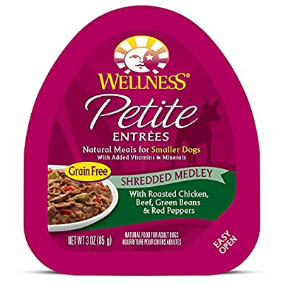 Wellness Petite Entrees Natural Grain Free Wet Small Breed Dog Food, 3-Ounce Cup (Pack Of 24) Shredded Medley Chicken & Beef