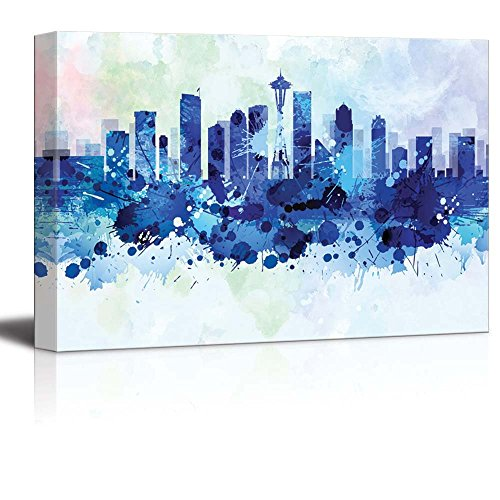 wall26 - Vibrant Blue Splattered Paint on The City of Seattle - Canvas Art Home Decor - 16x24 inches ()