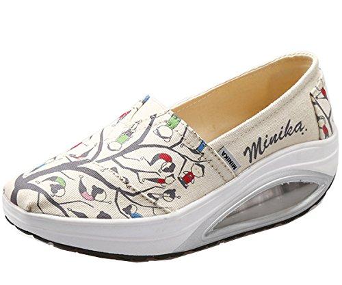 JARLIF Women's Canvas Platform Slip On Sneakers Athletic Walking Air Cushion Shoes (6.5 B(M), Beige)