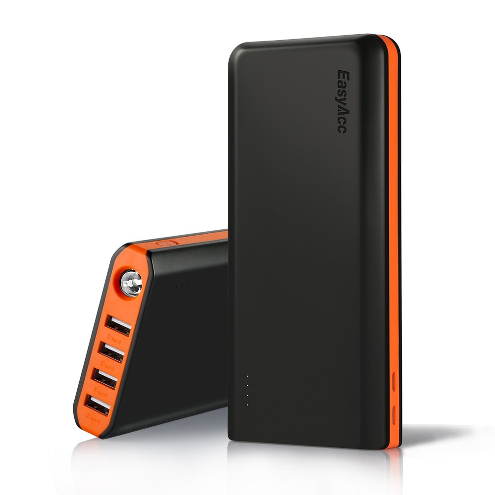EasyAcc 20000mAh Portable Charger Fast Recharge External Battery Pack Charger with 2.1A 2-Port Input 4.8A Smart Output High Capacity Power Bank for iPhone iPad Samsung Android - Black and Orange