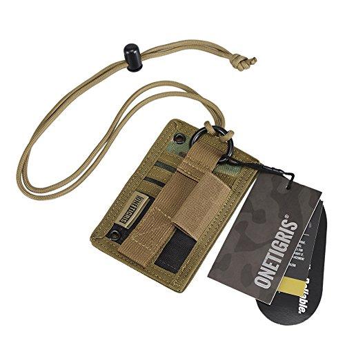 OneTigris Tactical ID Card Holder Hook & Loop Patch Badge Holder Neck Lanyard Key Ring and Credit Card Organizer (Multicam-500D ()