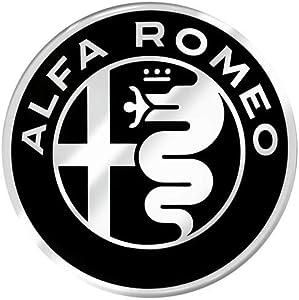 3D Sticker Alfa Romeo Logo, Black and White, 48 mm
