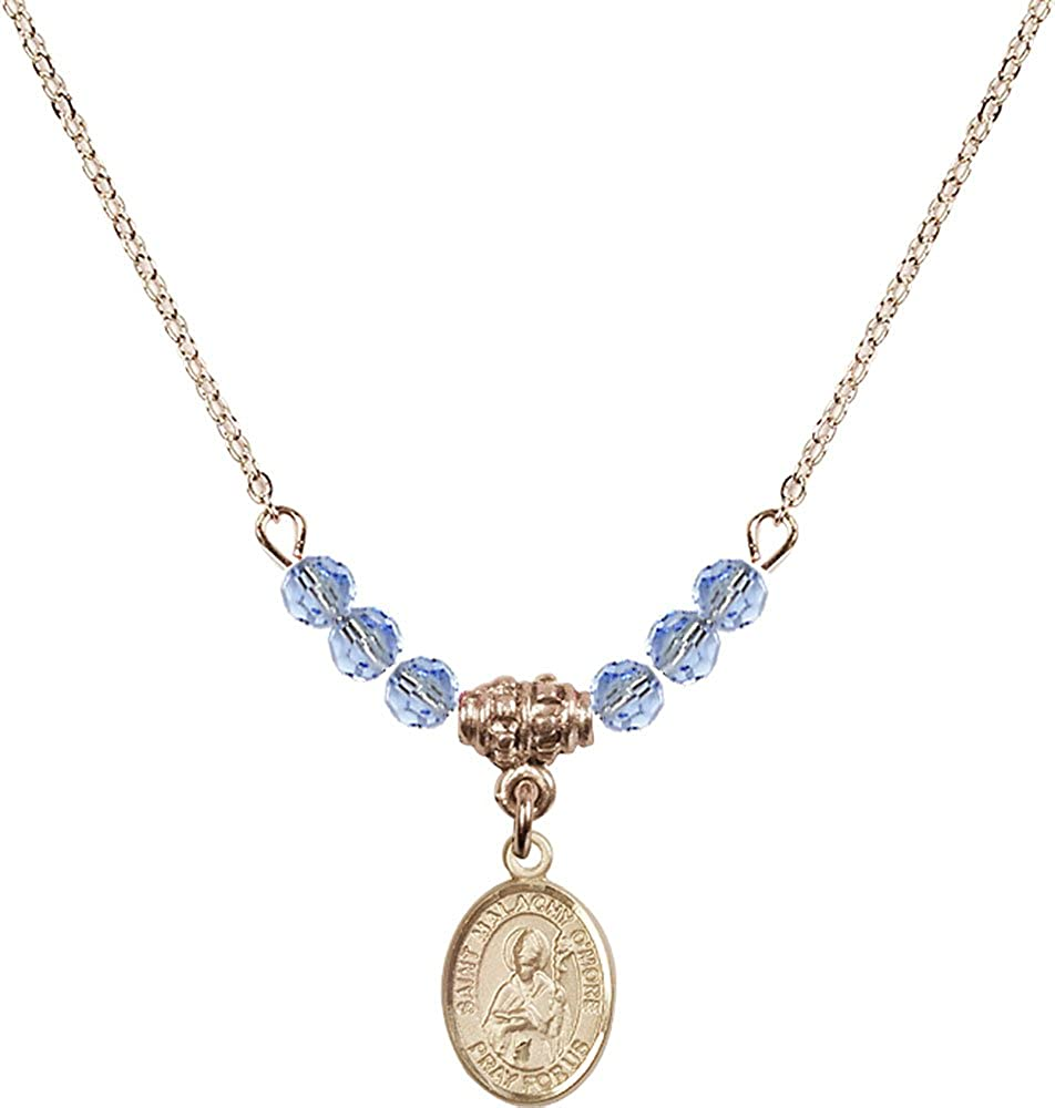18-Inch Hamilton Gold Plated Necklace with 4mm Light Sapphire Birthstone Beads and Gold Filled Saint Malachy OMore Charm.