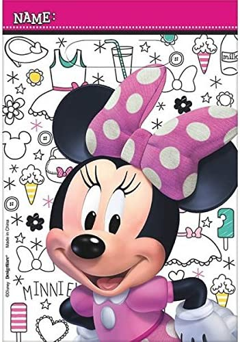 9 x 6 1//2. Lime Green//Pink 8 Pack Disney Minnie Mouse Birthday Party Toys and Prize Giveaway Folded Favour Loot Bags