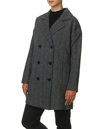 Garcia Jeans Women's Women's Coat In Black And White Fishbone 100% Polyester Black