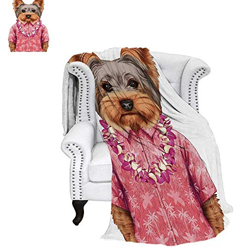 WilliamsDecor Yorkie Warm Microfiber All Season Blanket Portrait of a Dog in Humanoid Form with a Pink Shirt with Hawaian Lei Fun Image Print Image Blanket 80