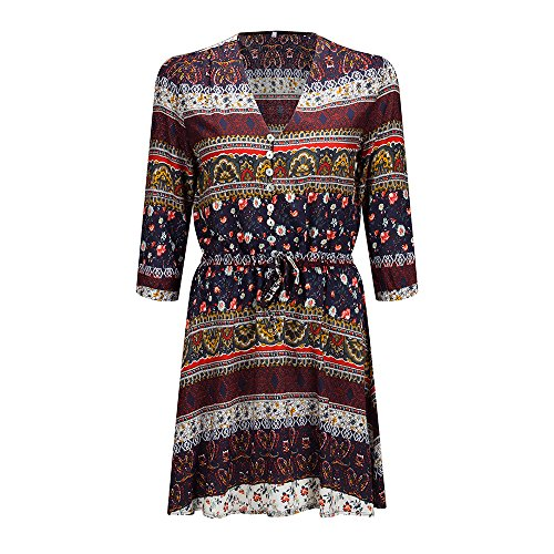 Drawstring Waist Beach V Floral Bewish Bohemian Adjustable Up Button 3 s Mini Women Brown 4 Chest Dress Sleeve Print Neck aqP7g