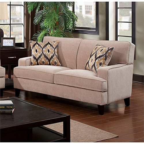 Furniture of America Elde Fabric Loveseat in Ivory