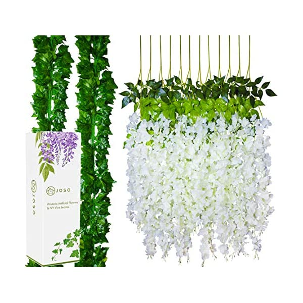 JOSO wisteria Artificial Flowers & Ivy Garland Vine Leaves – 24 Pack White Hanging Rattan Flower and Silk Ivy Wreath for Outdoor Indoor Wedding Backdrop, Photo Table, Garden, and Home Decoration.