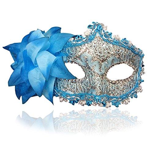(FaceWood Masquerade Mask Mardi Gras Mask for Women Handmade Venetian Party Prom Ball.(Blue))