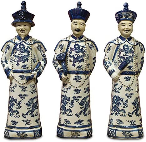 ChinaFurnitureOnline Chinese Emperors Porcelain Figurines, Three Generations Qing Dynasty Statues Blue and White Set of 3