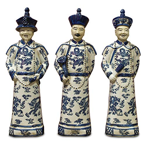 (ChinaFurnitureOnline Chinese Emperors Porcelain Figurines, Three Generations Qing Dynasty Statues Blue and White Set of 3)