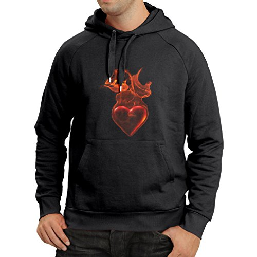 Hoodie Valentine Gifts, Birthday, Novelty, Romantic Gift Heart In Flames - I Love You (X-Large Black Multi Color) (Get Well Gift Baskets Post Surgery)