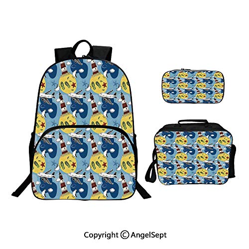 Custom Three-Piece School Bag,Lunch Bag,Pencil Bag,Travel Theme Artprint Lighthouse Seagulls Clouds Starfish Airplane Leaves Seashells Multi,For Travel School Hanging Out Gifts