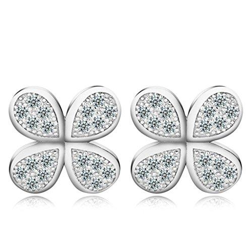 AmDxD Jewelry Silver Plated Women Stud Earrings Teardrop Four Leaf Clover Silver Cubic Zirconia