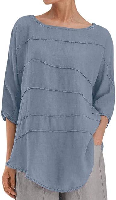 LOPILY Camiseta Mujer Casual Blusa de Pliegues Plisada de ...