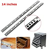 Vivona Hardware & Accessories 2pcs Metal Drawer Ball Bearing Slide Mute Guide Track 8-16Inch Silver - (Size: 14 inch)