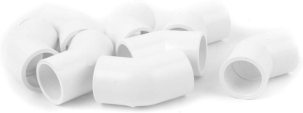 Aexit 25 mm de di/ámetro interno 45 grados 2 v/ías agua l/íquido PVC codo instalaci/ón de tubo blanco 8pcs model: P6772OIV-6098QU