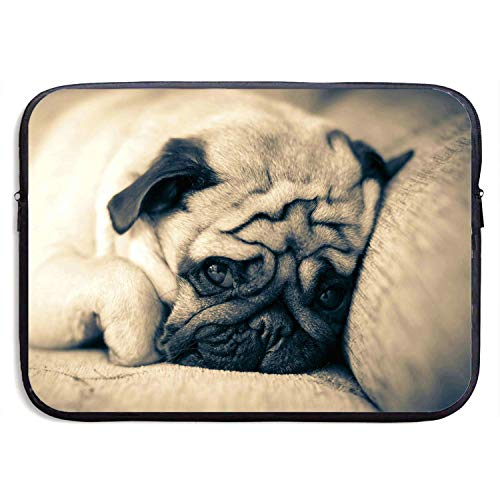 (13 Inch Laptop Sleeve Briefcase,Pug Lie Down Sleep Muzzle Neoprene Waterproof Handbag for Surface Laptop MacBook Pro/MacBook Air/Acer/Asus/Dell/Lenovo/iPad/Surface Book)