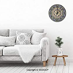 PUYANG 12 Inch Silent Vintage Round Wall Clock an Image of a Beautiful Moorish Carving Art Flower Doorway E Arabic Numerals Vintage Rustic Chic Style Wooden Round Home Decor Wall Clock