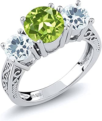 Light green synthetic diamond with sterling silver Ring 8