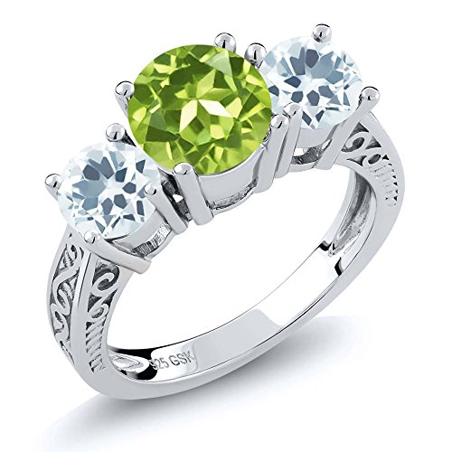 2.15 Ct Round Green Peridot Sky Blue Aquamarine 925 Sterling Silver 3-Stone Ring (Ring Size (Round Peridot 3 Stone Ring)
