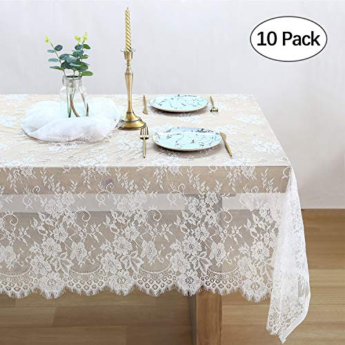 QueenDream 10-Pack White Lace Tablecloth Kitchen Tablecloths for Rectangle Tables Size 60X120 Inches for Party Banquet Dining Wedding Decorations -
