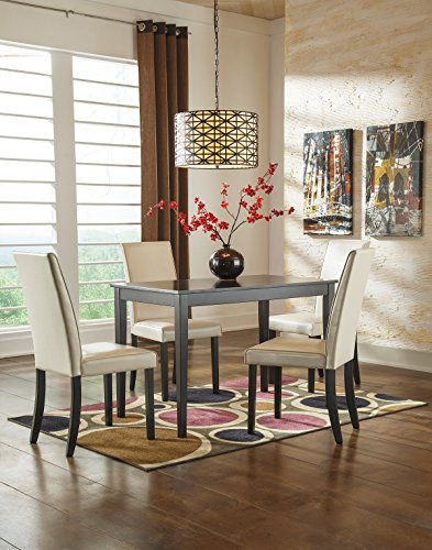 Kimonic Dining 5PC Table and Ivory Chairs Set