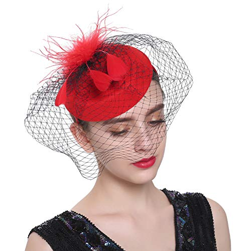 Zivyes Fascinator Hats for Women Pillbox Hat with Veil Headband and a Forked Clip Tea Party Headwear (F-Red)