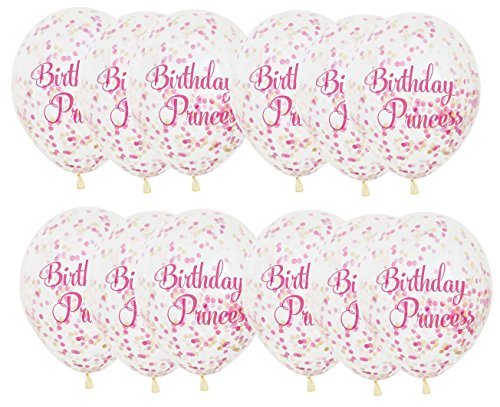 Unique Industries 12 Birthday Princess Pink & Gold Confetti Balloons, 12 Pack