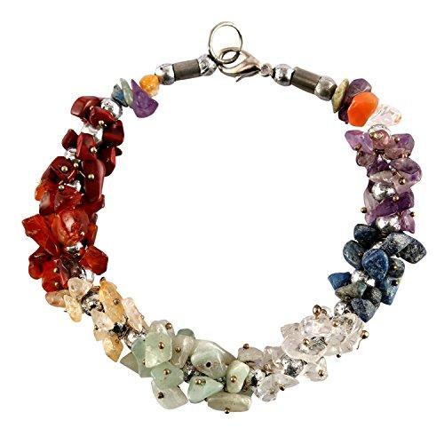 Aatm Natual Healing Gemstone Seven Chakra Designer Charm Bracelet for Healing and Meditation (Beads Size - 7-8 mm)