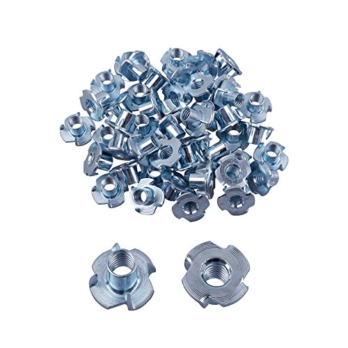 Eowpower 50Pcs 4 Pronged Zinc Plated Tee T-Nut (5/16