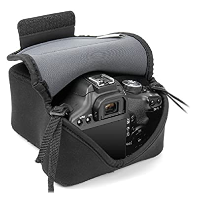 DSLR Camera Sleeve Case with DuraNeoprene Technology , Accessory Storage and Strap Openings by USA GEAR - Works With Nikon D3300 / D3400 , Canon EOS Rebel T6 / T5 , Sony SLT-A68 and More