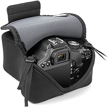 USA Gear DSLR Camera Case / SLR Camera Sleeve (Black) with Neoprene Protection , Holster Belt Loop and Accessory Storage by USA Gear - Works With Nikon D3400 / Canon EOS Rebel SL2 / Pentax K-70 & Many More