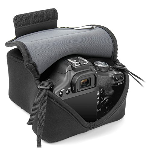 DSLR Sleeve Camera Case / Camera Holster with DuraNeoprene Technology and Accessory Storage by USA Gear - Works With Nikon D3400 / Canon EOS Rebel SL2 , Rebel T6 / Pentax K-70 & Many More DSLR Cameras