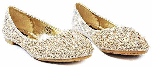 Anna Femmes Nine14 Sparkle Goutte De Pluie Strass Paillettes Maille Loafer Ballet Robe Plate Chaussures Champagne