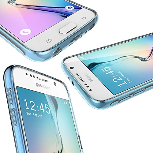 Buyus Samsung Galaxy S6 Edge Case Cover with Design (2015 New) - Clear Back Panel [Hard Plastic ]+ Colorful Bumper [Flexible TPU] - [Slim Fit] [Crystal Clear View] [Scratch Resistant] [Ultra Slim Hybrid] - Retail Packaging - 9 Colors (Clear/Blue)