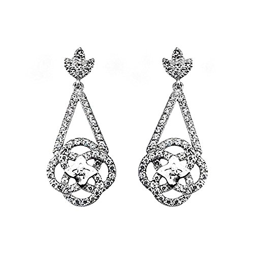 Boucled'oreille 18k blanc zircons mariage en or long rosette [AA5360]