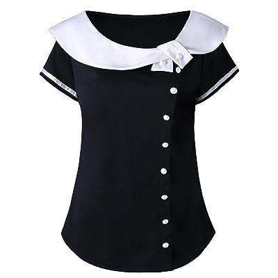 Camisas Mujer Tallas Grandes ❤️Absolute Camiseta con Cuello Peter Pan de Dos Tonos para Mujer Blusa de Manga Corta de Moda para Mujer Camisas Mujer Verano 2019 Ropa Verano Mujer: Ropa y accesorios
