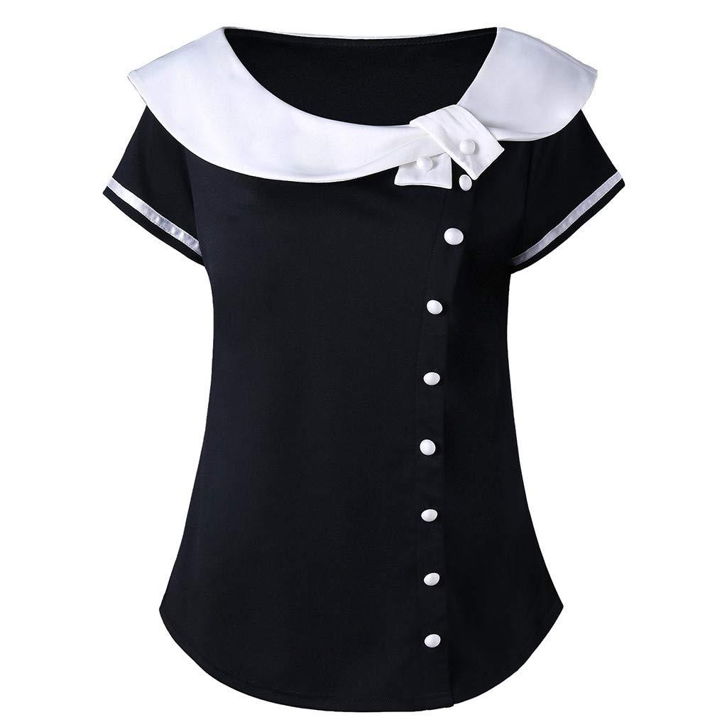 Vecole Plus Size Damenmode Casual Kurzarm Zwei Ton Peter Pan Kragen T-Shirt Tops Sommer Taste Slim Fit Hemd