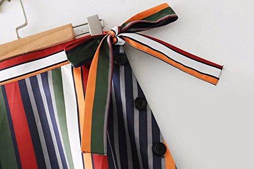 Femmes Taille mi Jupe Noir Ligne Color A Maxi Haute lgante Longue Femmes FuweiEncore Swing Jupe Stripe wTq14X1