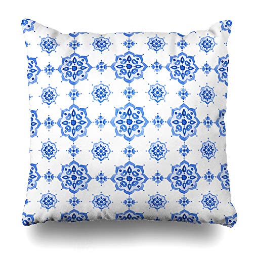 Ahawoso Decorative Throw Pillow Cover Tile Navy Pattern Delft Blue Watercolor Netherlands Dutch Watercolour Crockery Holland Delftware Zippered Design 18