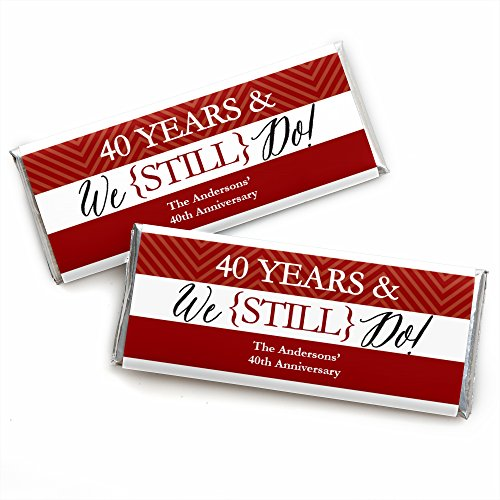 Anniversary Candy Wrapper - Custom We Still Do - 40th Wedding Anniversary - Personalized Anniversary Party Favors Candy Bar Wrappers - Set of 24